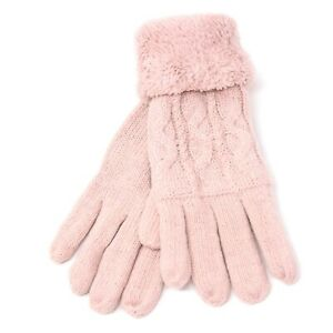 Women's Knit Winter Wool Gloves w/ Fur lining Thermal Insulated Warm Gloves