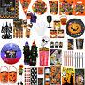 New Halloween Party Supplies Plates, Napkins, Cups,Spooky Eek Pumpkin Tableware