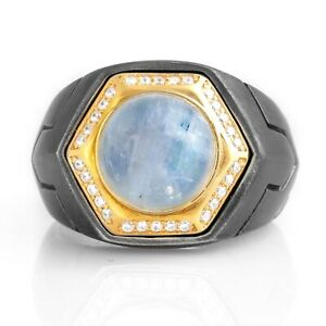 Mens MoonStone Ring Gemstone Rings For Man Oxidized Silver Signet Ring Gift Him