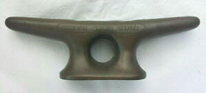 """VINTAGE BRASS BOAT/DOCK CLEAT - """"SHELTER HARBOR MARINA"""" - 10"""" L - 6 1/2 LBS - GC"""
