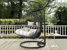 More details for hanging cocoon egg chair garden swing 2 person hammock removable cushions !!!