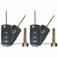 TWO Smart Proximity Keyless Remote Flip Keys Uncut Flip Key Blade for Volkswagen