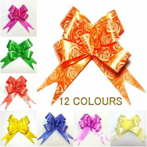 Ribbon Bows 50 LARGE assorted colours easy pull flowers ribbons party decoration