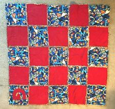 Handmade boys rag quilt 42 inches by 42 inches.  Superman and red square theme