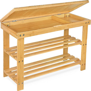 Bamboo Shoe Rack Bench, 3-Tier Entryway Organizer Shelf with Storage Up to for