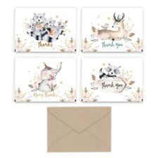 Paper Frenzy Woodland Animals Thank You Note Cards and Kraft Envelopes 24 pack