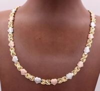Diamond Cut Hearts Kisses Satin Necklace 14K Tricolor Gold Clad Silver 925 XOXO