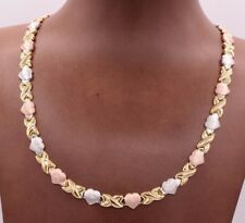 Diamond Cut Hearts Kisses Satin Necklace 14K Tricolor Gold Clad Silver 925 XOXO