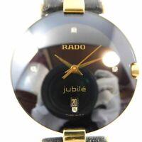RADO Jubile 129.3577.4N UNISEX BLACK GOLD DATE VINTAGE WATCH SWISS QUARTZ
