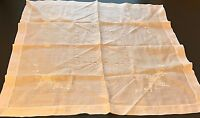 "Vtg Linen Tablecloth Table Runner Centerpiece Embroidered 32"" Rectangle"
