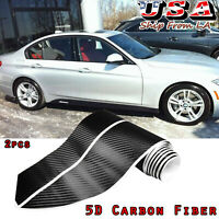 2x Carbon Fiber Side Skirt Sill Stripe Decal Sticker For BMW E90 E92 F10 F30 F32