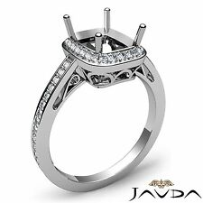Diamond Engagement Ring Cushion Semi Mount Halo Pave Set 18k White Gold 0.5Ct