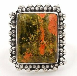 Natural Unakite 925 Solid Sterling Silver Ring Jewelry Sz 9 ED11-6
