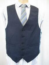 38R - Vintage 70's Mens Navy Pinstripe Waistcoat Retro Mod Scooter Smart - C698