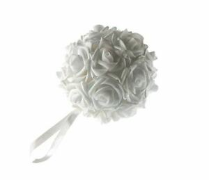 Wedding Decorations Kissing Ball 6 Inch White Rose Centerpiece Soft Touch 8 Pcs