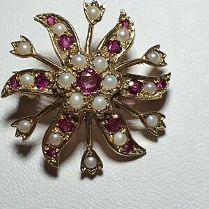 Vintage 9ct Gold Ruby and Seed Pearl Starburst Brooch