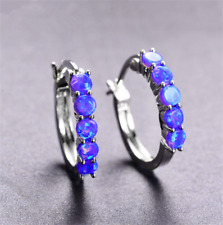 1 Pair Woman Fashion 925 Silver Jewelry Purple Fire Opal Charm Stud Earring ~~!