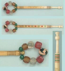 Antique Inscribed Spangled Bone Lace Bobbin * ANN * English * Circa 1830