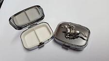 Race Horse Jockey PP-E20 English Pewter Emblem Rectangular Travel Metal Pill Box