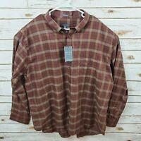 Van Heusen Men's 2XL No Iron Long Sleeve Button Up Cotton/Poly Plaid Shirt NWT
