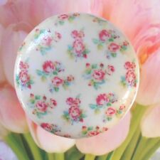 French Roses Wallpaper Ceramic Knob cabinet Drawer Pull bath bedroom chic room