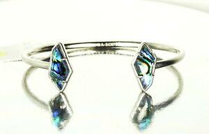 KENDRA SCOTT Lilith Pinch Rhodium Plated Abalone Shell Cuff Bracelet