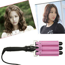 3 Barrel Pink Hair Curler Curling Spiral Iron Tong Twister Styling SalonTool