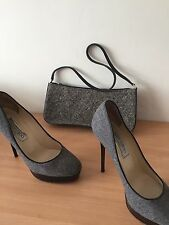 Jimmy Choo Cosmic Grey And Black Heels, With Free Bag Size 37, Uk 4 Stunning!