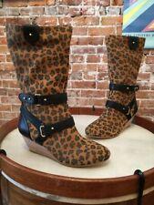 Matt Bernson Leopard Suede Belted Wedge Boots NEW