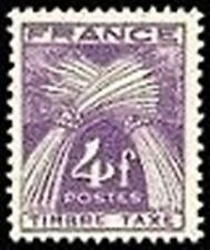 """FRANCE STAMP TIMBRE TAXE N° 84 """" TYPE GERBES 4F VIOLET """" NEUF x TB"""