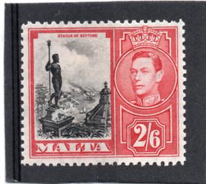 Malta  GV1 1938-43 2/6. black & scarlet sg 229 HH.Mint