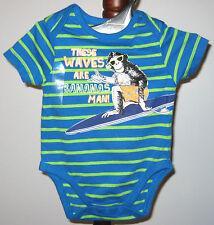 New The Children's Place Boys Size 6-9 Months Blue Short Sleeve Bodysuit~Romper