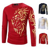 New Men's Fashion Slim Fit Long Sleeve Printed totem Casual Shirts T-shirt Tee