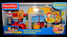Fisher Price Little People Set Discover Vehicles at the Garage DVD Dog Car Gas