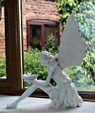 Garden Ornament Fairy Large Sculpture Decor Antique White Effect Outdoor Indoor