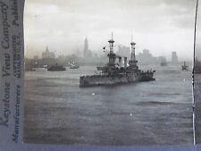 WW1 U.S.S. LOUISIANA ARRIVING IN NEW YORK CITY SKYLINE! KEYSTONE STEREOVIEW CARD