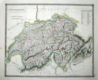 SWITZERLAND, Sidney Hall large original hand coloured antique map 1828