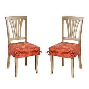 2 BRAND NEW SPICE Autumn Medley Damask Seat Covers for Dining Room Chairs
