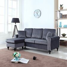 Traditional Small Space Grey Velvet Sectional Sofa with Reversible Chaise