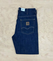 Carhartt Wip Marlow Pant Blue Dark Jeans Denim Rinsed Loose relaxed straight fit