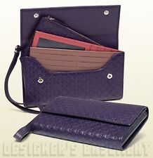 GUCCI purple Leather Micro GUCCISSIMA travel document WRISTLET case NIB Authentc