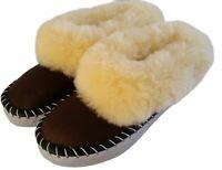 Ladies Sheepskin Slippers Brown Hard Sole Wool Size 3 4 5 6 7 8 Women's Moccasin