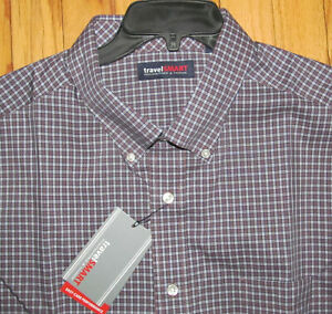 Roundtree Mens SS Navy Brown Plaid Easy Care Shirt 2X B,2XLT,3X B,3XLT,4XLT NWT