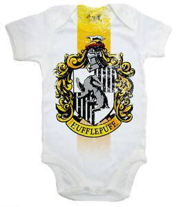 "Harry Potter Baby Bodysuit ""Hufflepuff House Crest"" Baby grow Vest Hogwarts"