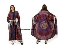 New Women's Floral Boho Shawl Long Kimono Cardigan Tops Cover up Cotton Blouse