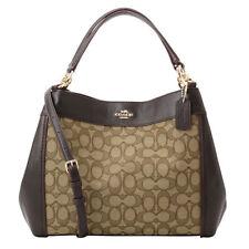 NWT COACH Lexy Jacquard Leather Shoulder Small Bag Purse Khaki Brown F29548