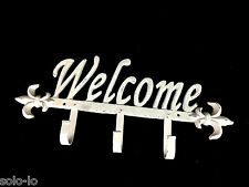 Cast Iron Wall Decor Metal Welcome Sign Rustic Wash White 3 Hooks 37.5 x17cm New