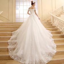 White  Wedding Dress Bridal Gown Princess White Lace Beading Crystal Boat Neck