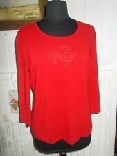 Tee shirt rouge stretch GERRY WEBER 44D 46FR brodé strass manches 3/4