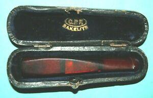 Antique C.P.F. CPF Cigarette Holder Cherry Amber Bakelite with Original Case